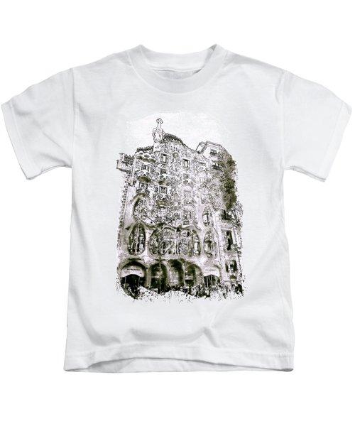 Casa Batllo Barcelona Black And White Kids T-Shirt by Marian Voicu