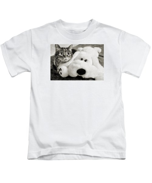 Cat And Dog In B W Kids T-Shirt