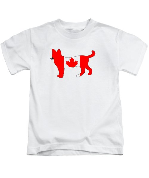 Cat Canada Kids T-Shirt by Mordax Furittus