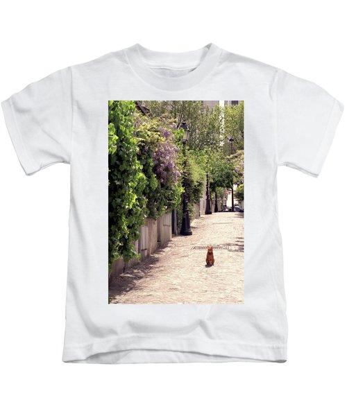 Cat On Cobblestone Kids T-Shirt
