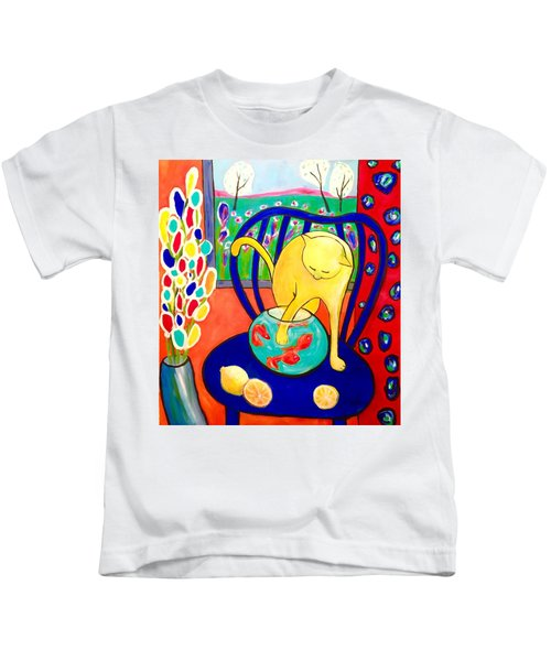 Cat - Tribute To Matisse Kids T-Shirt