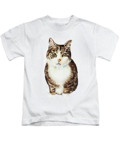 Cat Watercolor Illustration Kids T-Shirt