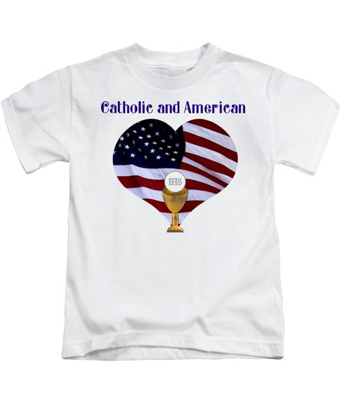 Catholic And American Flag And Holy Eucharist Kids T-Shirt