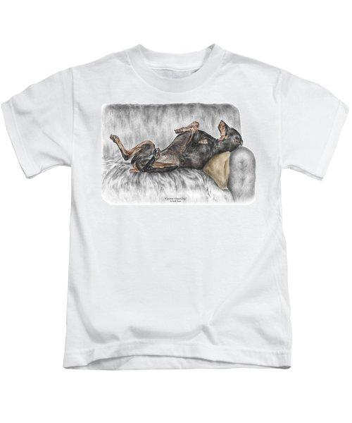 Caution Guard Dog - Doberman Pinscher Print Color Tinted Kids T-Shirt