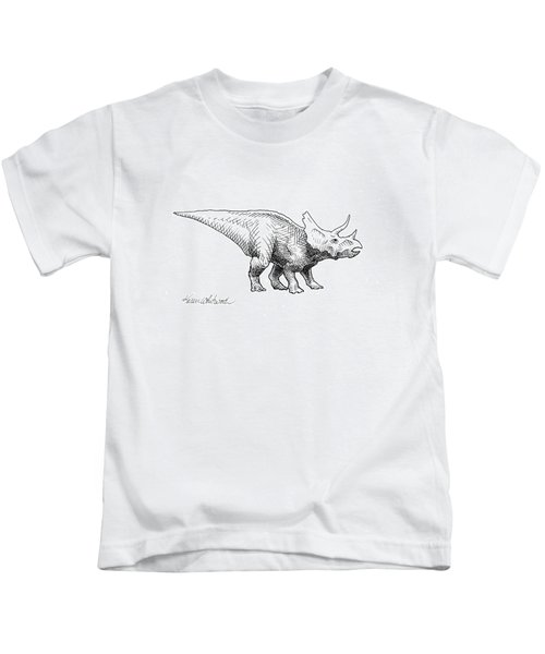 Cera The Triceratops - Dinosaur Ink Drawing Kids T-Shirt