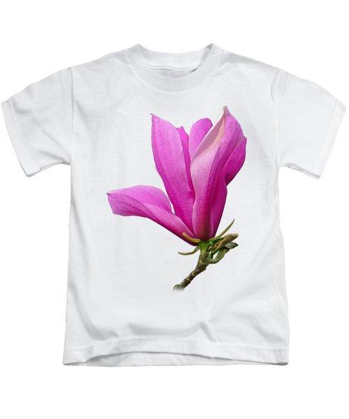 Cerise Pink Magnolia Flower Kids T-Shirt