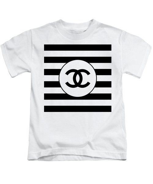 Chanel - Stripe Pattern - Black And White 1 - Fashion And Lifestyle Kids T-Shirt
