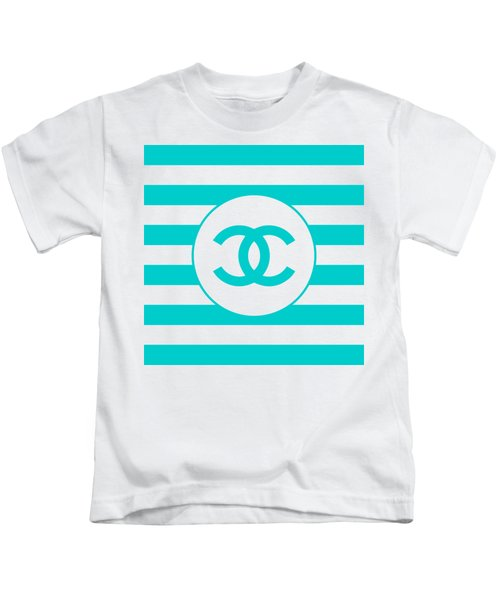 Chanel - Stripe Pattern - Blue - Fashion And Lifestyle Kids T-Shirt