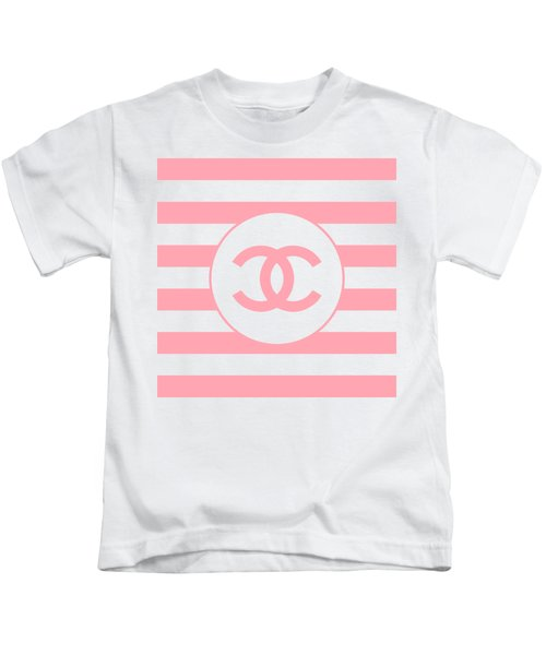 Chanel - Stripe Pattern - Pink - Fashion And Lifestyle Kids T-Shirt