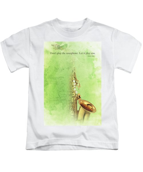 Charlie Parker Saxophone Green Vintage Poster And Quote, Gift For Musicians Kids T-Shirt