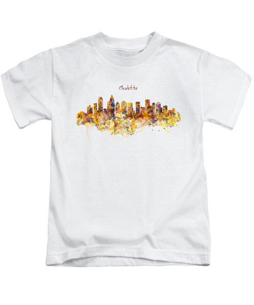 Charlotte Watercolor Skyline Kids T-Shirt