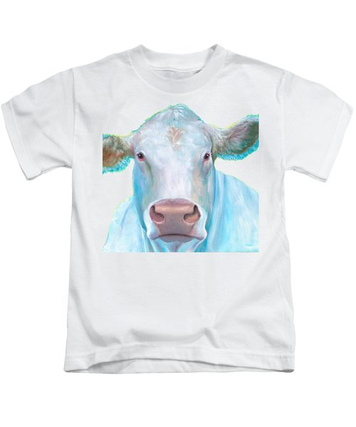 Charolais Cow Painting On White Background Kids T-Shirt by Jan Matson