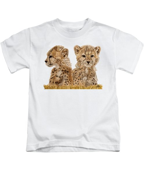 Cheetah Cubs Kids T-Shirt by Angeles M Pomata