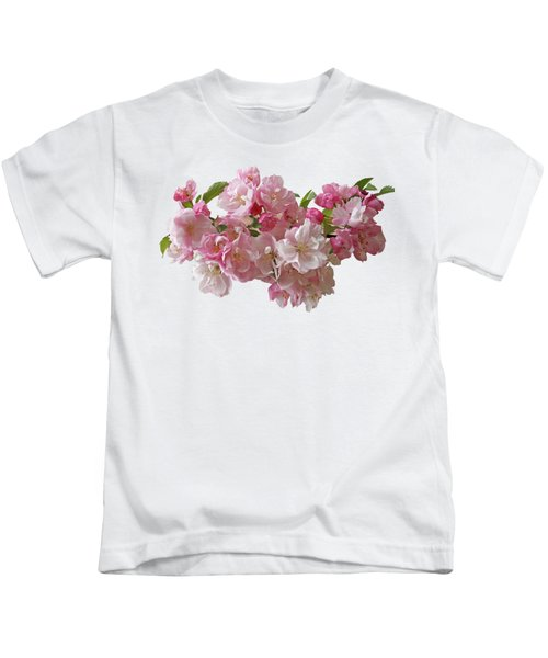 Cherry Blossom On Black Kids T-Shirt