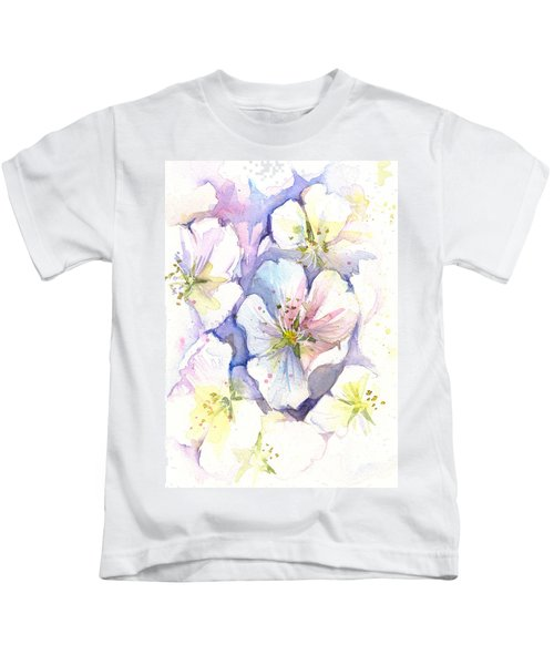 Cherry Blossoms Watercolor Kids T-Shirt