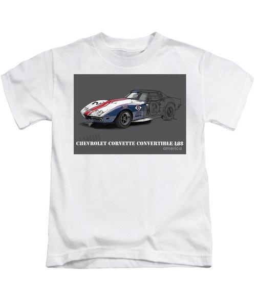 Chevrolet Corvette Convertible L88 1968,original Fast Race Car Kids T-Shirt
