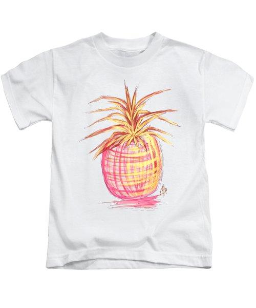 Chic Pink Metallic Gold Pineapple Fruit Wall Art Aroon Melane 2015 Collection By Madart Kids T-Shirt