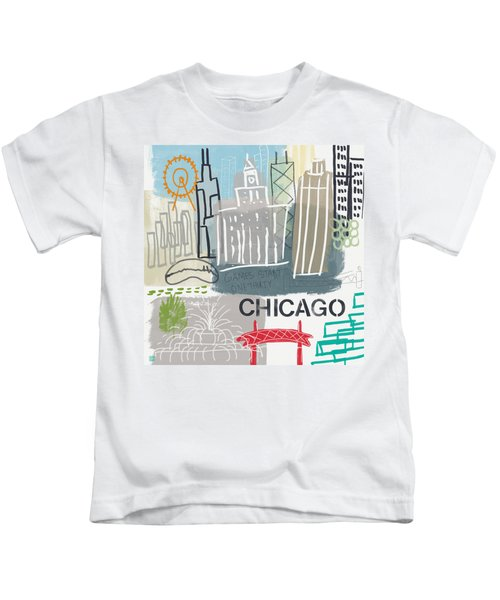 Chicago Cityscape- Art By Linda Woods Kids T-Shirt