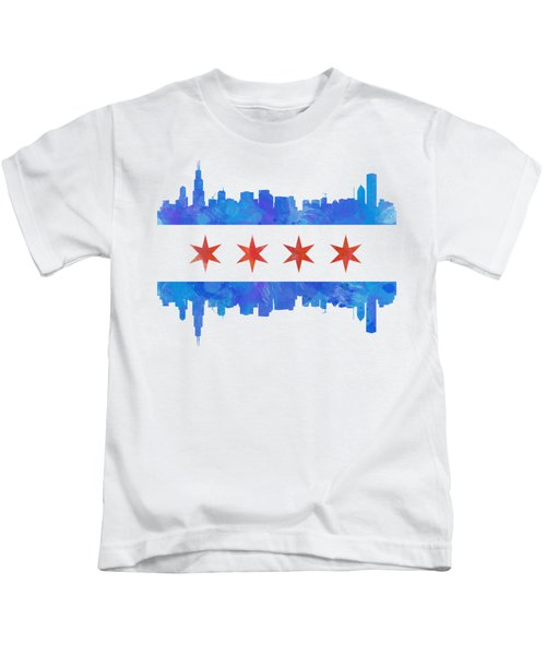 Chicago Flag Watercolor Kids T-Shirt by Mike Maher