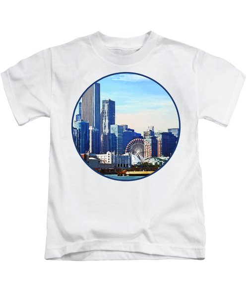 Chicago Il - Chicago Skyline And Navy Pier Kids T-Shirt by Susan Savad