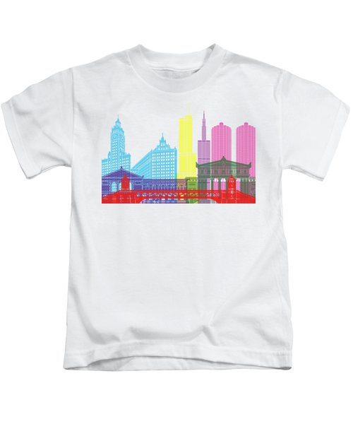 Chicago Skyline Pop Kids T-Shirt by Pablo Romero