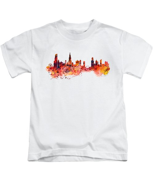Chicago Watercolor Skyline Kids T-Shirt by Marian Voicu