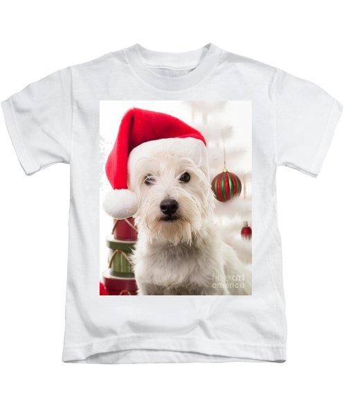 Christmas Elf Dog Kids T-Shirt