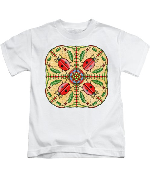 Christmas Ladybug Mandala Kids T-Shirt by Tanya Provines