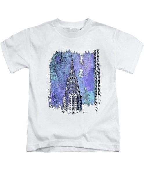 Chrysler Spire Berry Blues 3 Dimensional Kids T-Shirt by Di Designs