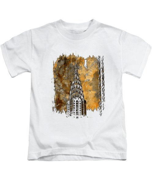 Chrysler Spire Earthy 3 Dimensional Kids T-Shirt by Di Designs