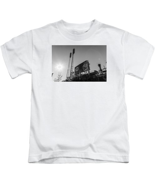 Cincinnati Reds Riverfront Stadium Black And White  Kids T-Shirt