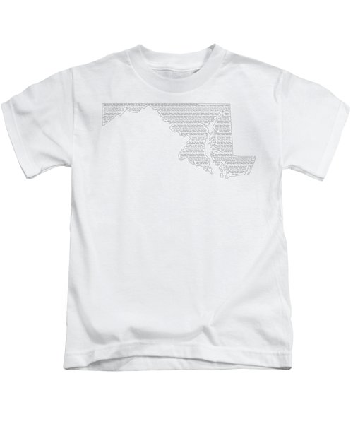 Cities And Towns In Maryland Black Kids T-Shirt by Custom Home Fashions