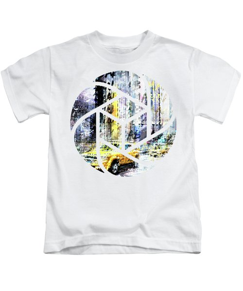 City-art Times Square Streetscene Kids T-Shirt by Melanie Viola