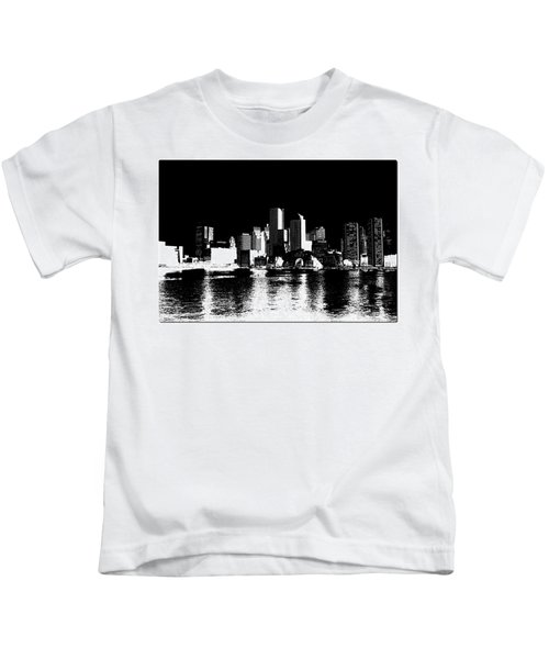 City Of Boston Skyline   Kids T-Shirt by Enki Art