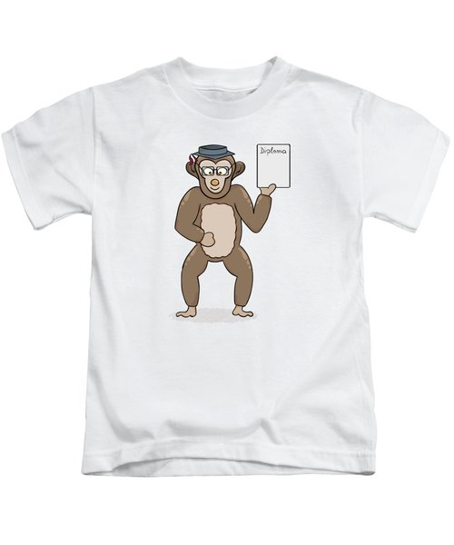 Clever Monkey With Diploma Kids T-Shirt
