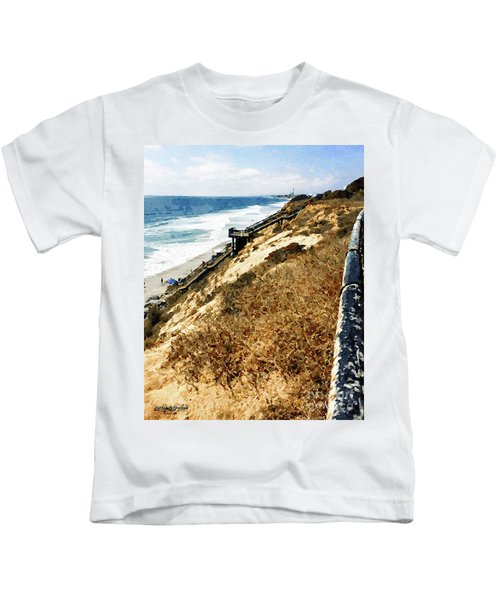 Cliff View - Carlsbad Ponto Beach Kids T-Shirt