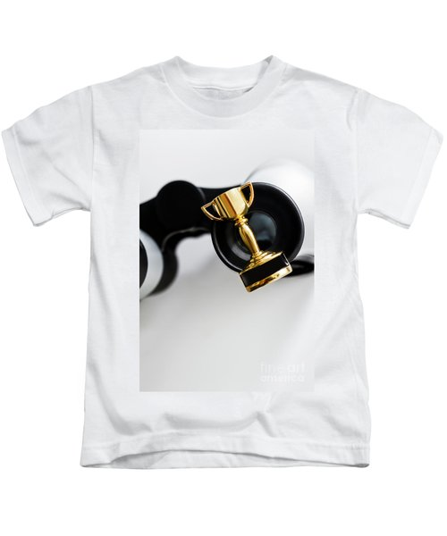 Closeup Of Small Trophy And Binoculars On White Background Kids T-Shirt