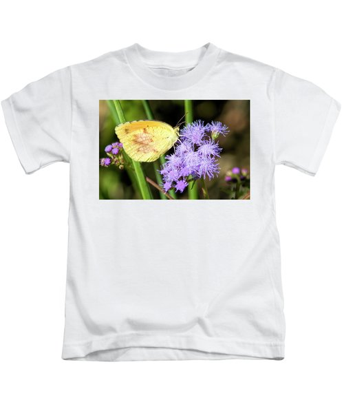 Cloudless Sulfur Butterfly On Ageratum Wildflower Kids T-Shirt