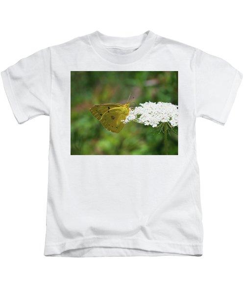 Cloudless Sulphur On Queen Anne's Lace Kids T-Shirt