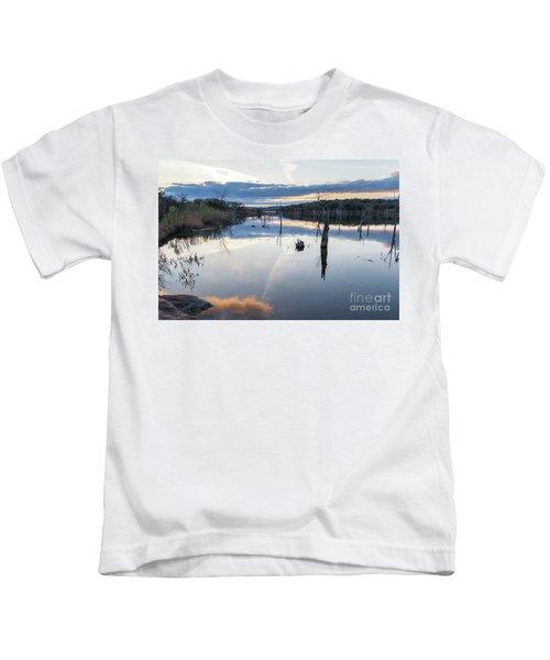 Clouds Reflecting On Large Lake During Sunset Kids T-Shirt