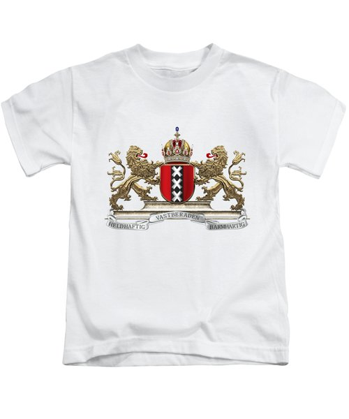 Coat Of Arms Of Amsterdam Over White Leather  Kids T-Shirt