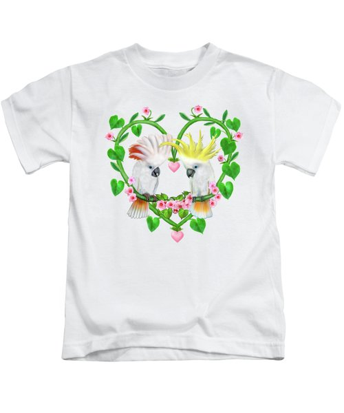 Cockatoos Of The Heart Kids T-Shirt by Glenn Holbrook