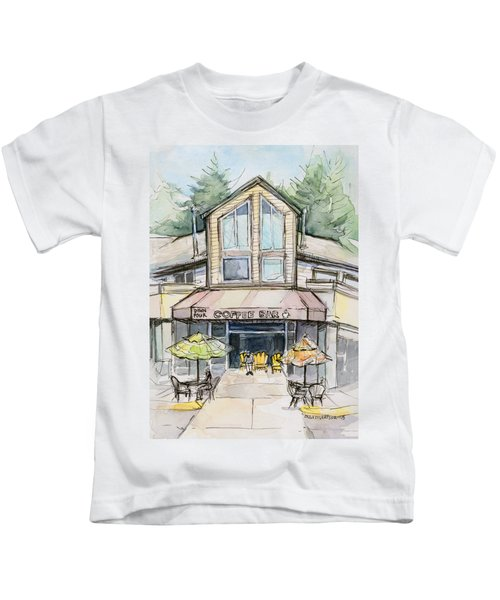 Coffee Shop Watercolor Sketch Kids T-Shirt by Olga Shvartsur