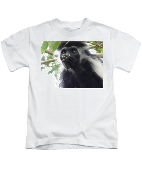 Colobus Monkey Eating Leaves In A Tree 2 Kids T-Shirt