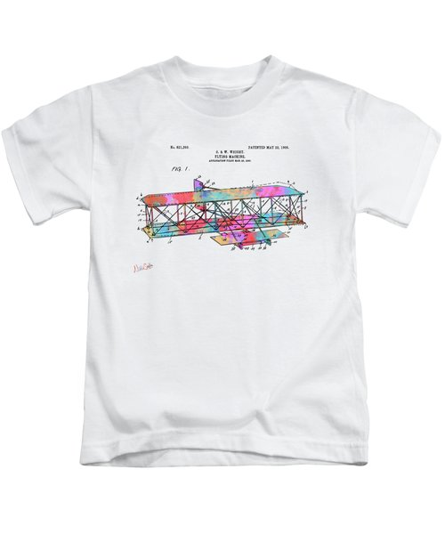 Colorful 1906 Wright Brothers Flying Machine Patent Kids T-Shirt