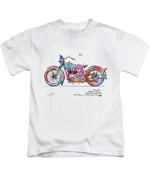 Colorful 1928 Harley Motorcycle Patent Artwork Kids T-Shirt