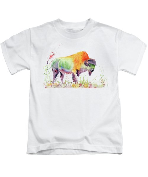 Colorful American Buffalo Kids T-Shirt by Melly Terpening