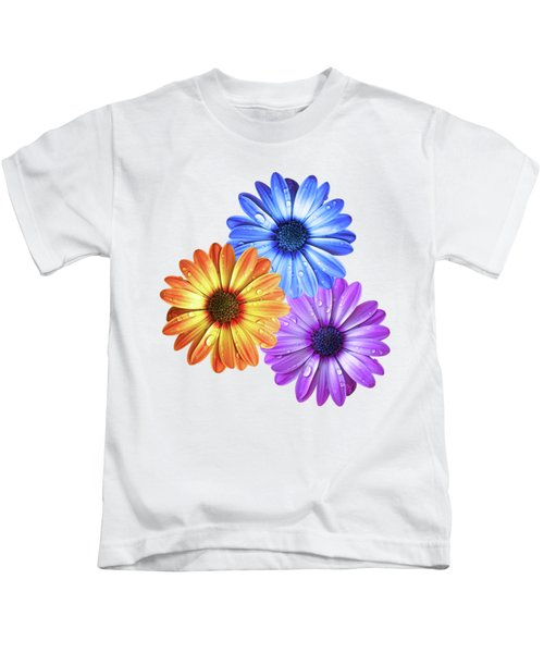 Colorful Daisies With Water Drops On White Kids T-Shirt