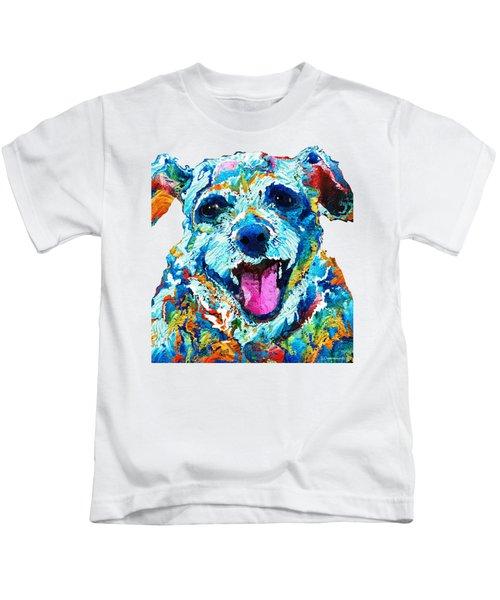Colorful Dog Art - Smile - By Sharon Cummings Kids T-Shirt