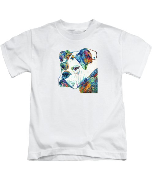 Colorful English Bulldog Art By Sharon Cummings Kids T-Shirt by Sharon Cummings